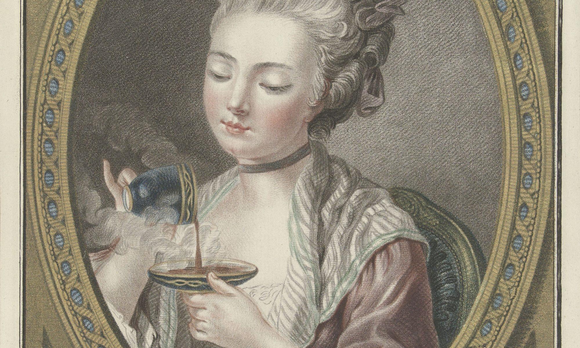 vrouw schenkt koffie uit over schotel