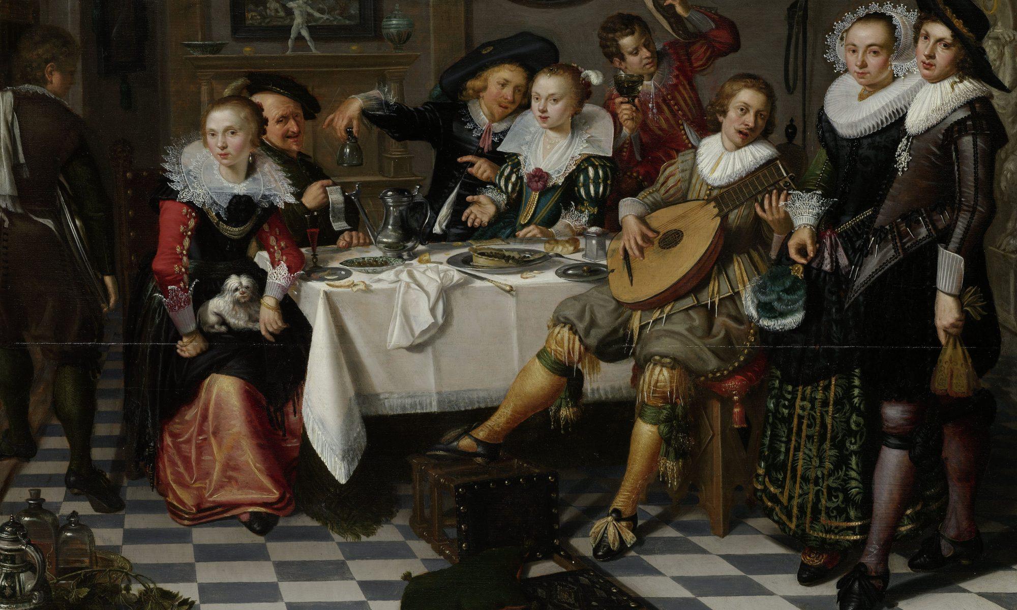 Feestvierend gezelschap 17e eeuw